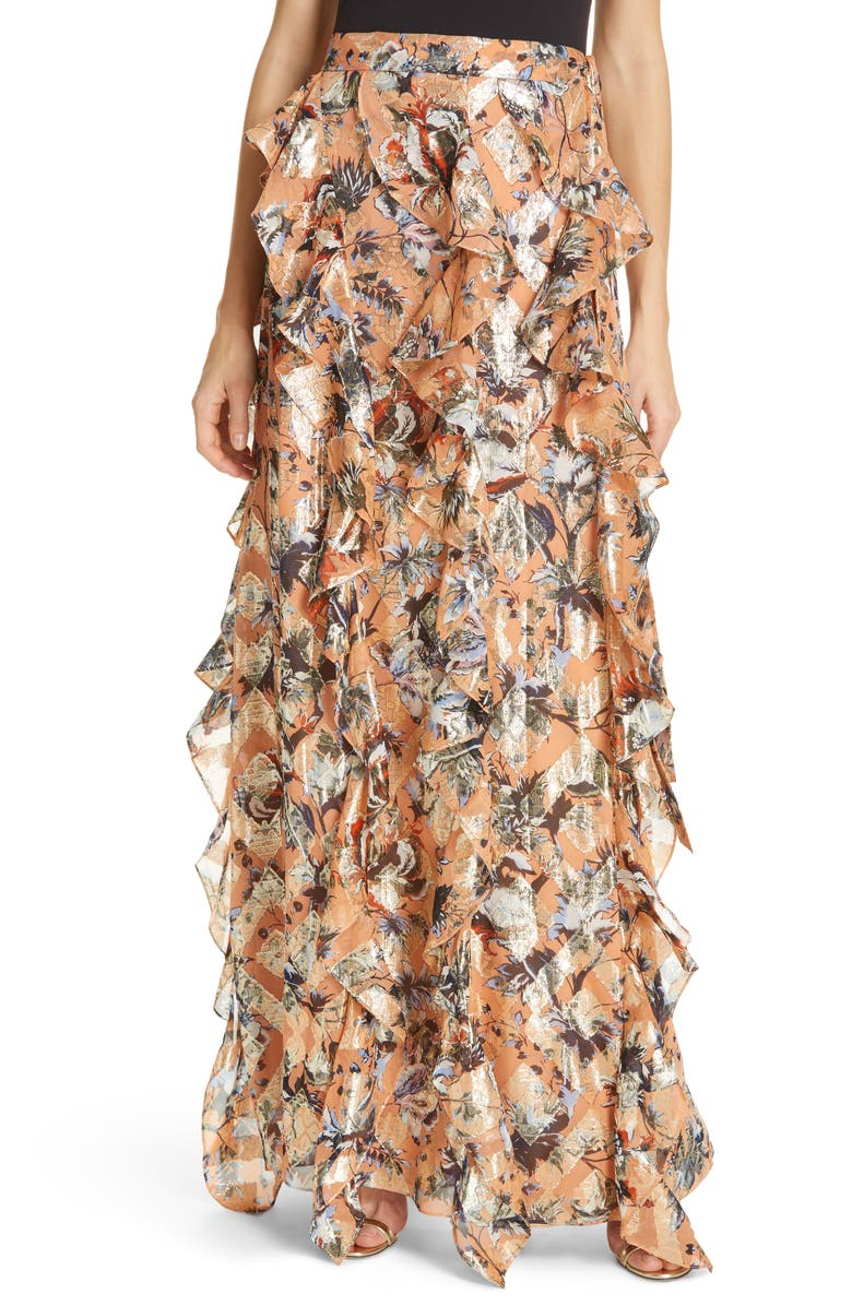 DVF Salona Floral Metallic Detail Silk Ruffle Skirt, Main, color, 950