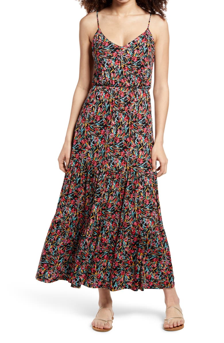 ALL IN FAVOR Tiered Cami Maxi Dress, Main, color, 001