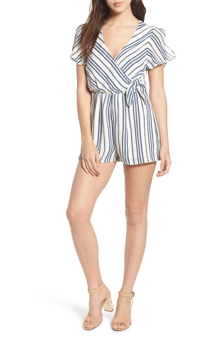 EVERLY Tie Front Romper, Main, color, 400