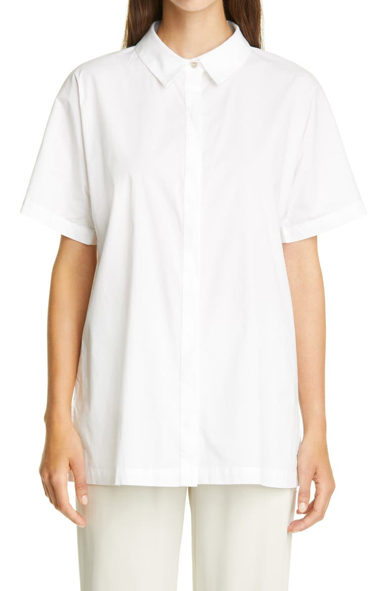 EILEEN FISHER Classic Collar Stretch Organic Cotton Shirt, Main, color, 100