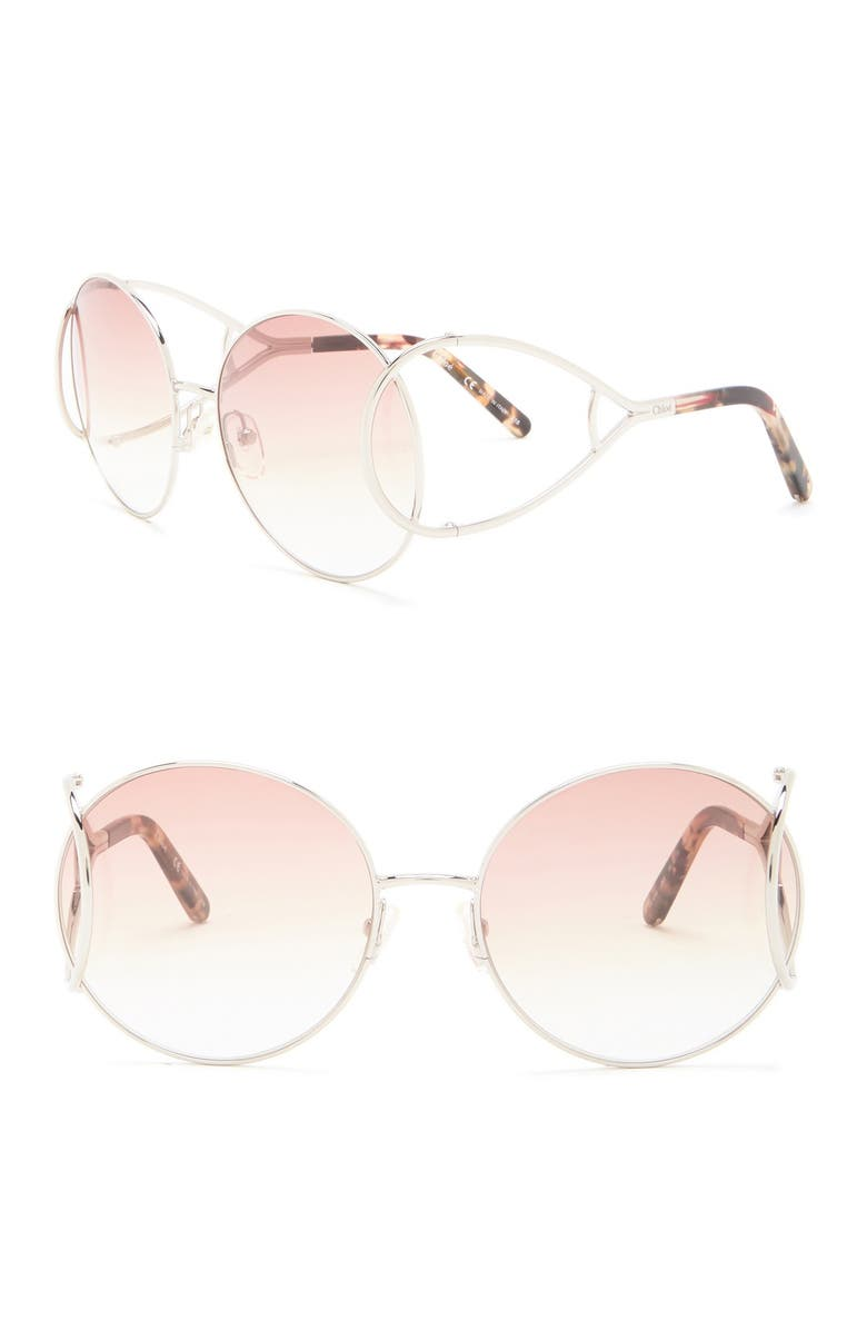 CHLOE ́ 'Jackson' 60mm Round Sunglasses, Main, color, SILVER/BROWN MARBLE