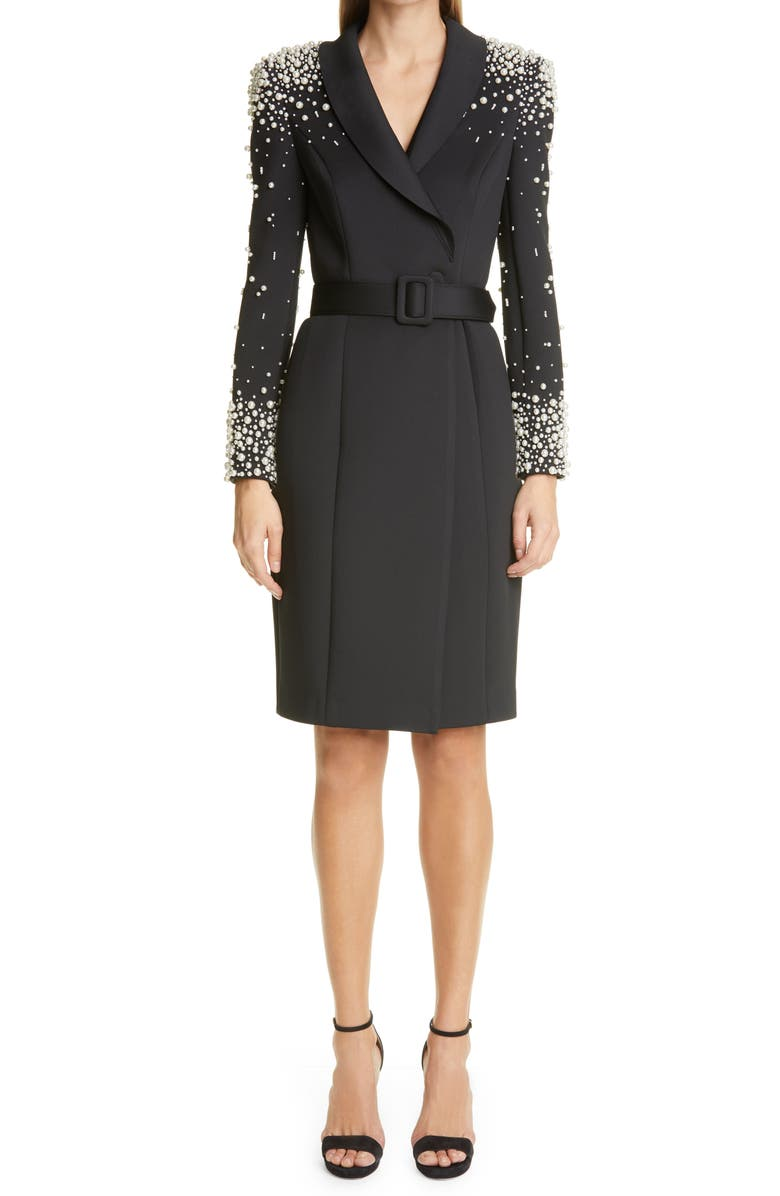 BADGLEY MISCHKA COLLECTION Imitation Pearl Embellished Long Sleeve Cocktail Coatdress, Main, color, BLACK IVORY