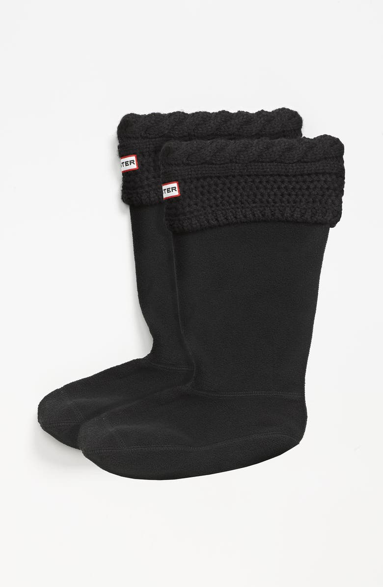 HUNTER 'Moss Cable' Tall Cuff Welly Socks, Main, color, BLACK