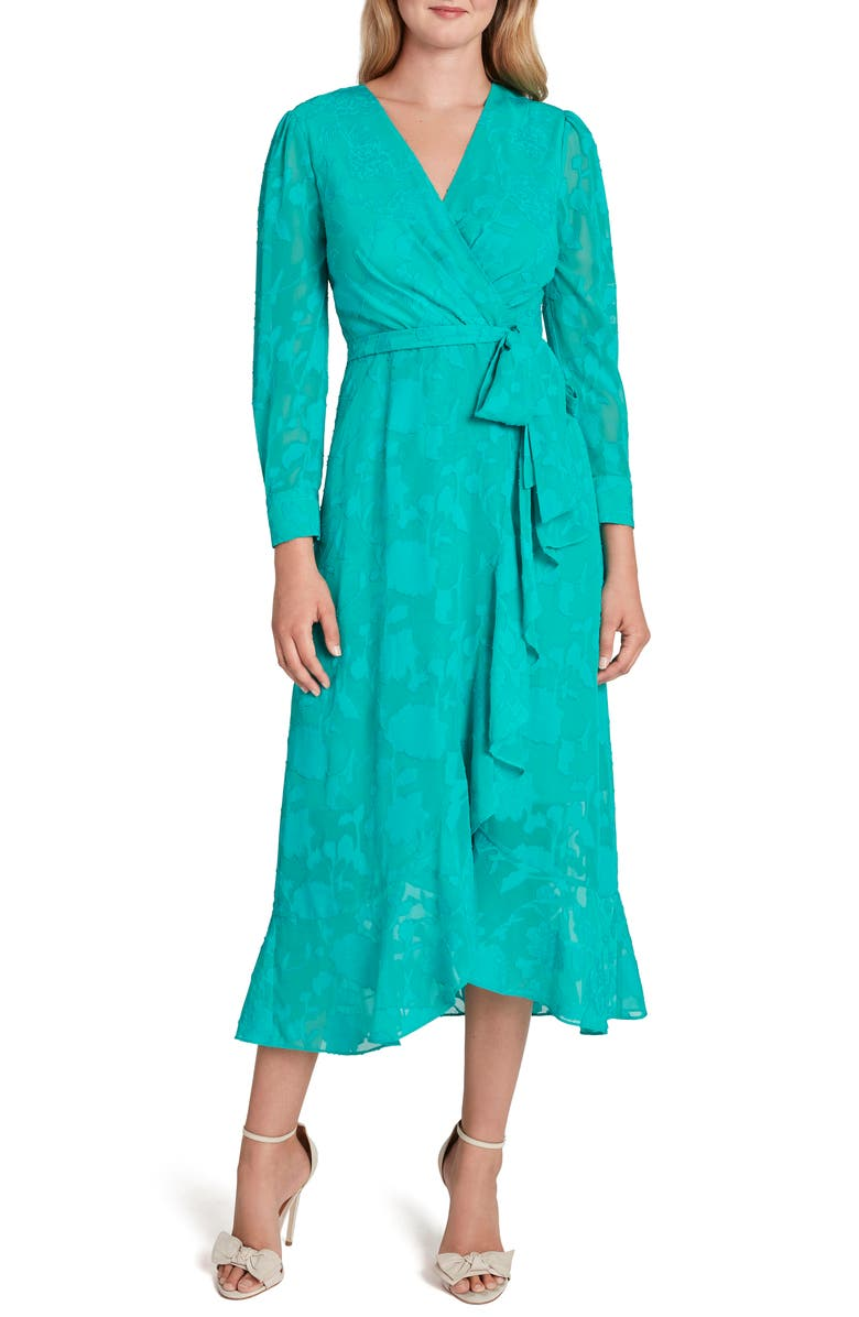 TAHARI Chiffon Clip Long Sleeve Faux Wrap Maxi Dress, Main, color, DYNASTY GREEN