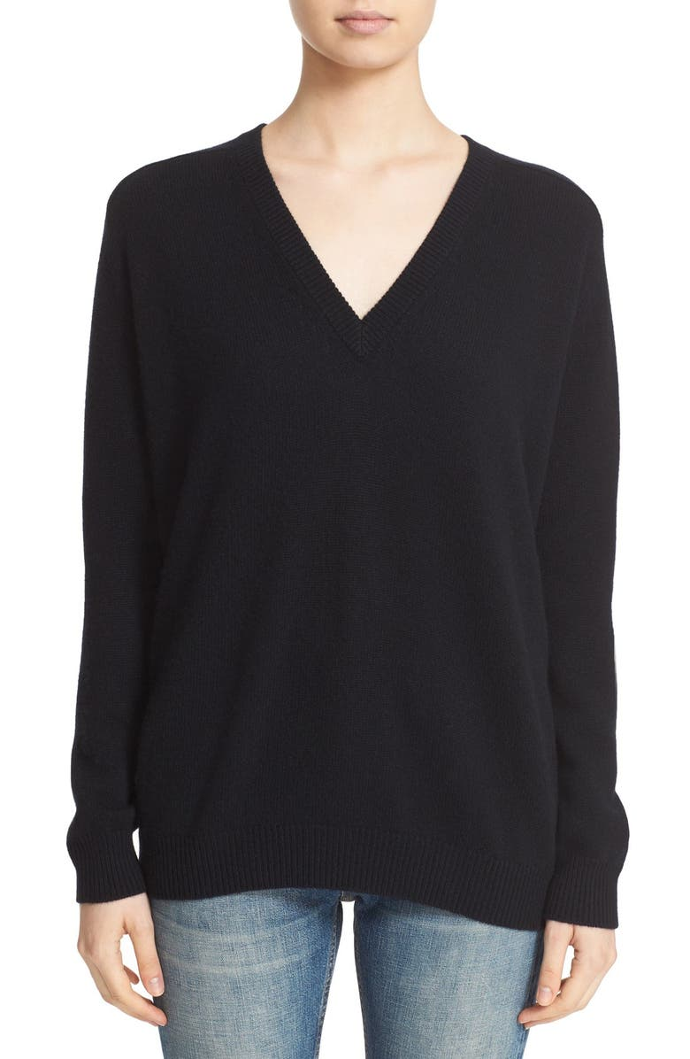 VINCE 'Low Vee' Wool & Cashmere Sweater, Main, color, Black