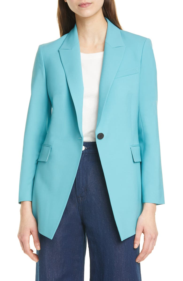 THEORY Etiennette B Good Wool Suit Jacket, Main, color, TEAL