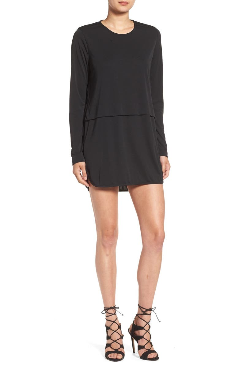 SINCERELY JULES 'Savoy' Long Sleeve Shirtdress, Main, color, 001
