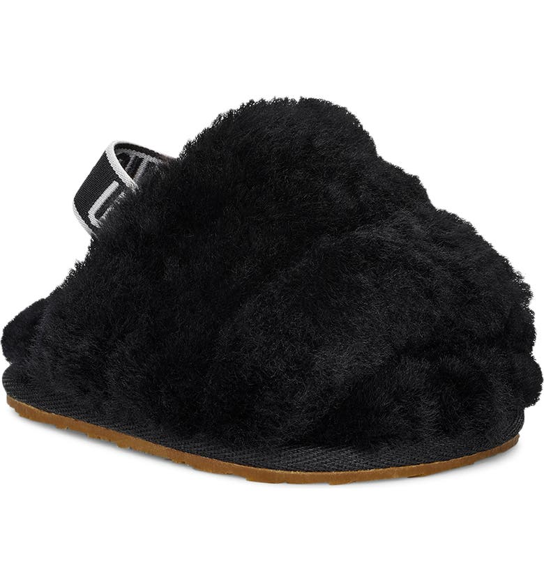 UGG<SUP>®</SUP> Fluff Yeah Genuine Shearling Slide Sandal, Main, color, BLACK