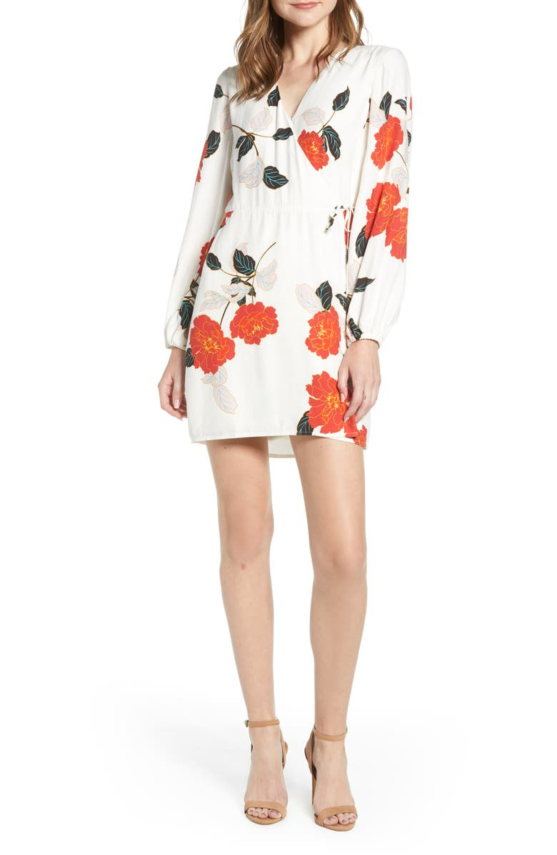 CUPCAKES AND CASHMERE Passion Blossoms Long Sleeve Wrap Dress, Main, color, 900