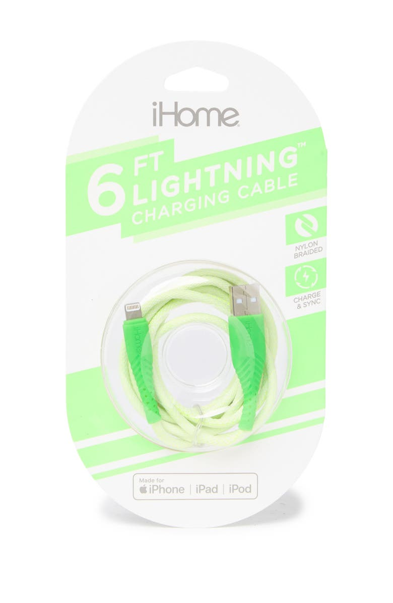 IHOME 6' Sports Nylon Cable - USB A, Main, color, LIME GREEN