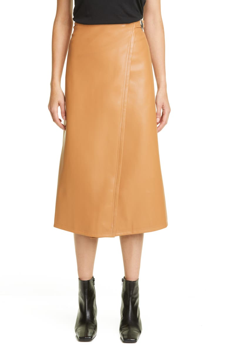 SIMON MILLER Vega Faux Leather Wrap Skirt, Main, color, 200