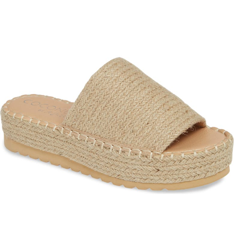 COCONUTS BY MATISSE Del Mar Platform Slide Sandal, Main, color, NATURAL FABRIC