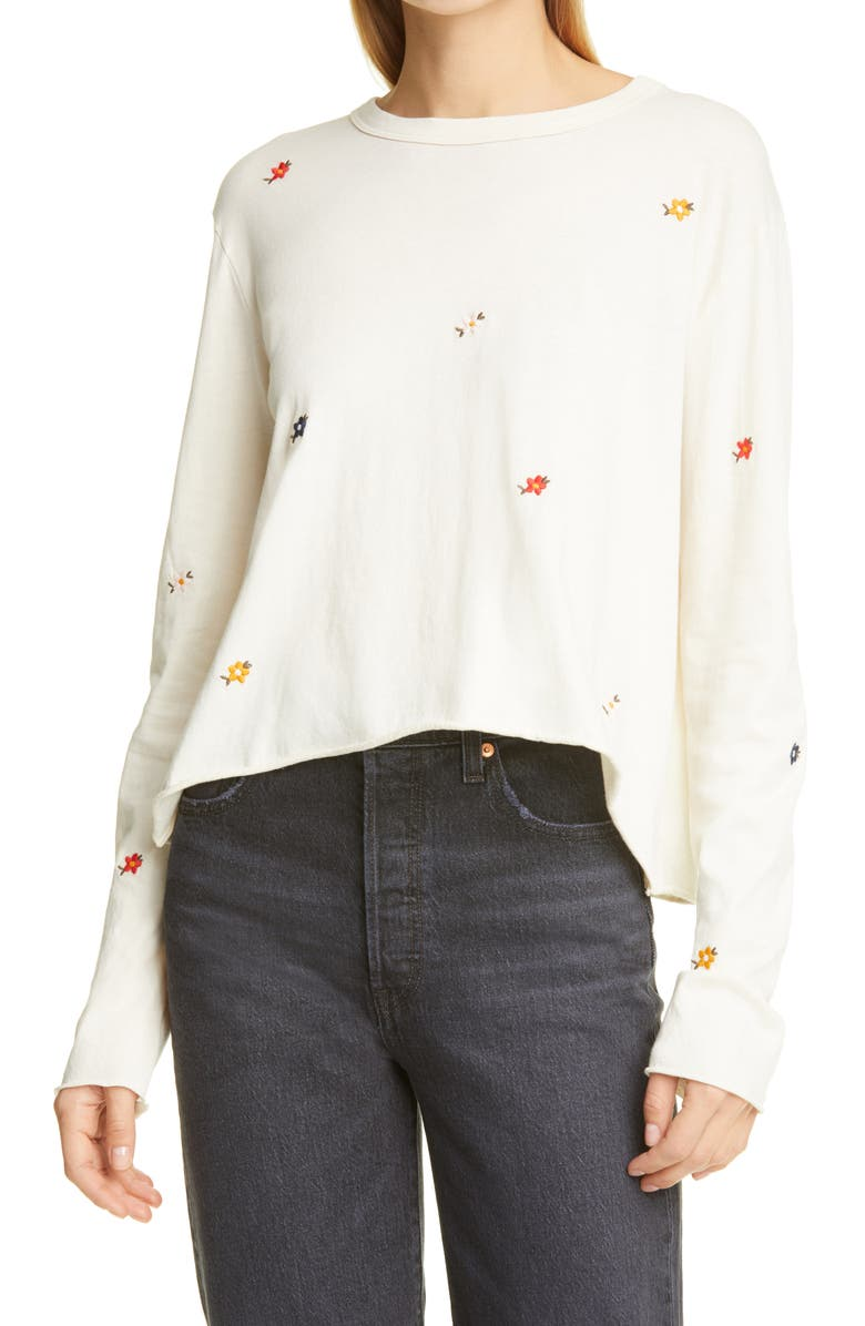 THE GREAT. The Embroidered Boxy Long Sleeve T-Shirt, Main, color, WASHED WHITE