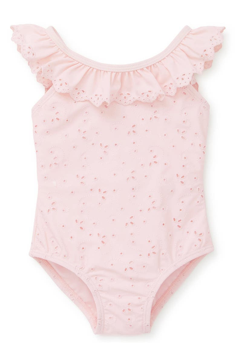 LITTLE ME Eyelet One-Piece Swimsuit, Main, color, PINK