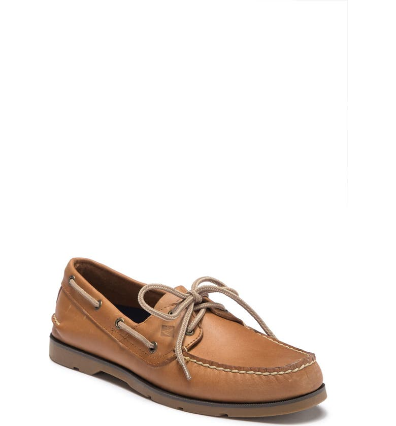 SPERRY Leeward Leather Boat Shoe - Wide Width Available, Main, color, SAHARA