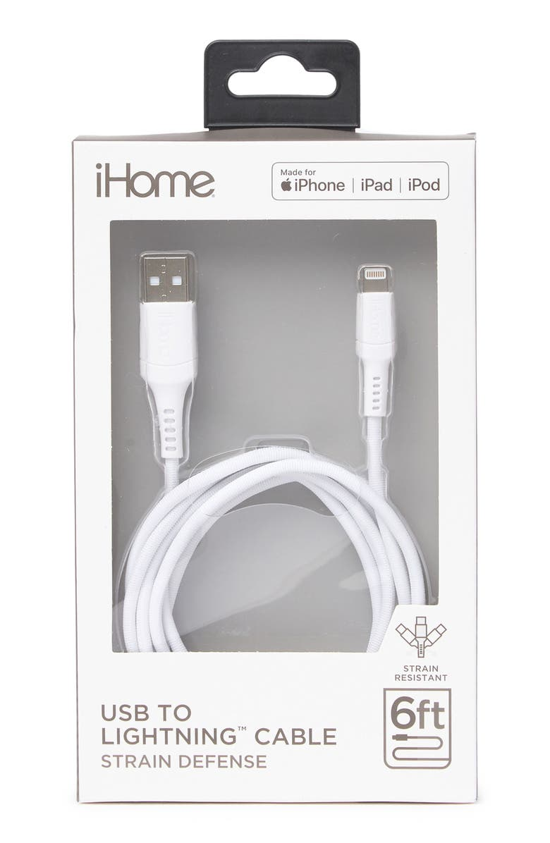 IHOME 6ft. Sand Spray Nylon Lightning Charge Cable - White, Main, color, WHITE