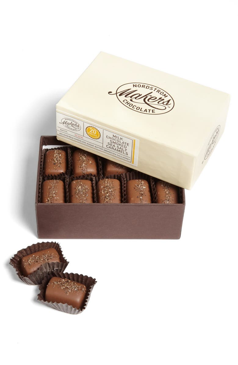 NORDSTROM MAKERS CHOCOLATE Smoked Sea Salt Caramels, Main, color, 000