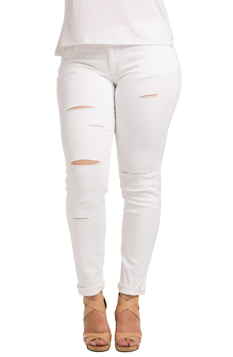 STANDARDS & PRACTICES Destroyed Stretch Skinny Boyfriend Jeans, Main, color, WHITE
