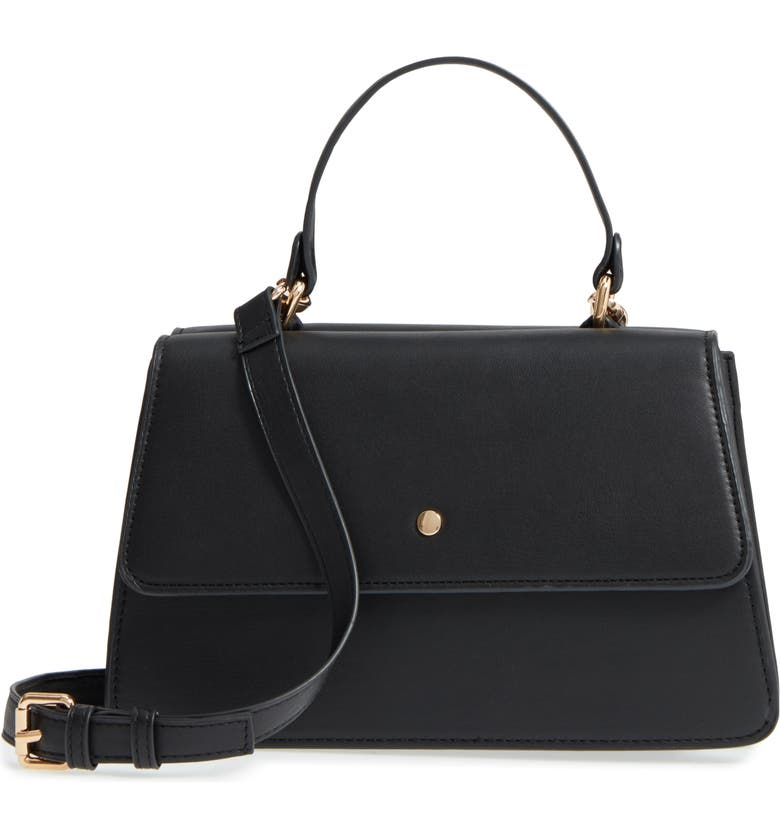SOLE SOCIETY Faux Leather Satchel, Main, color, 001