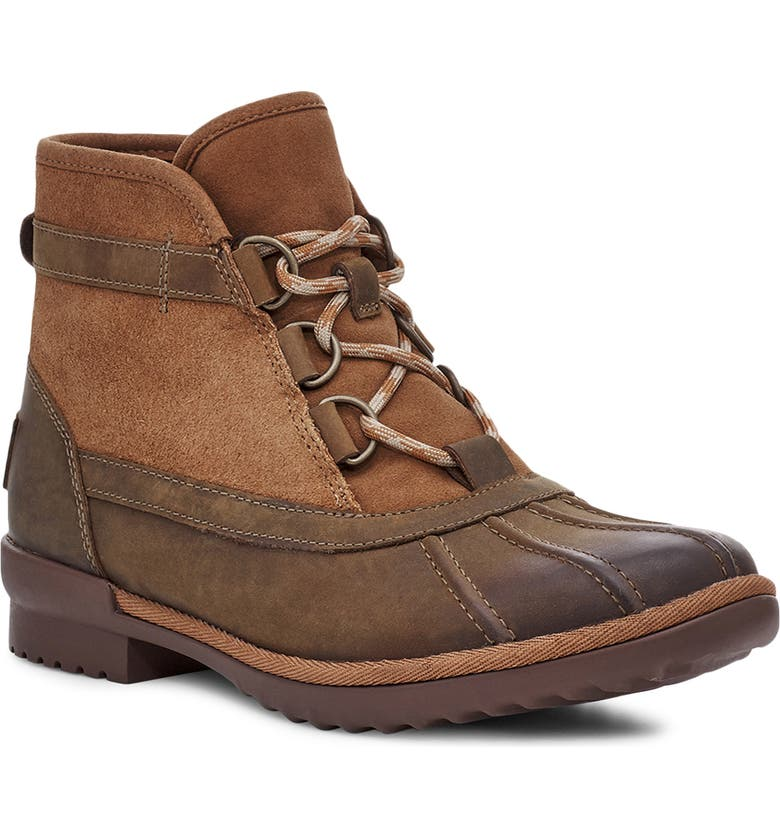 UGG<SUP>®</SUP> Greda Waterproof Duck Boot, Main, color, CHESTNUT LEATHER/ SUEDE