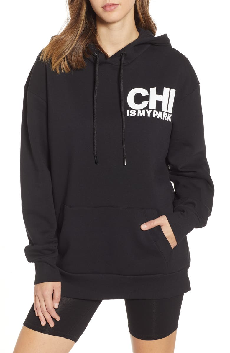 IVY PARK<SUP>®</SUP> On The Run Chicago Graphic Hoodie, Main, color, BLACK
