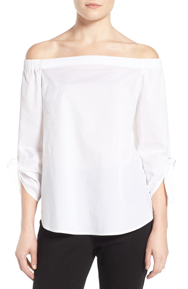 HALOGEN<SUP>®</SUP> Tie Sleeve Off the Shoulder Top, Main, color, 100