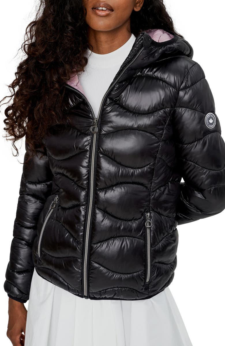 NOIZE Packable Quilted Hooded Jacket, Main, color, BLACK