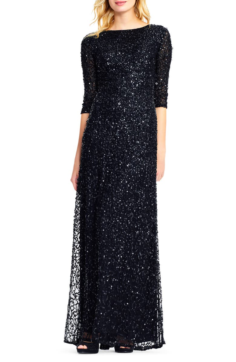 ADRIANNA PAPELL Sequin Mesh Gown, Main, color, 002
