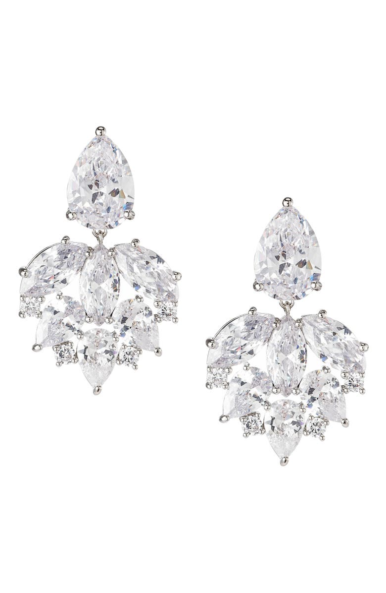 NINA Cluster Cubic Zirconia Drop Earrings, Main, color, RHODIUM/ WHITE CZ