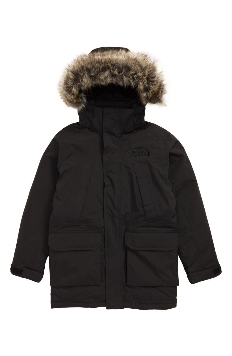 THE NORTH FACE McMurdo Waterproof 550 Fill Power Down Parka with Faux Fur Trim, Main, color, 001
