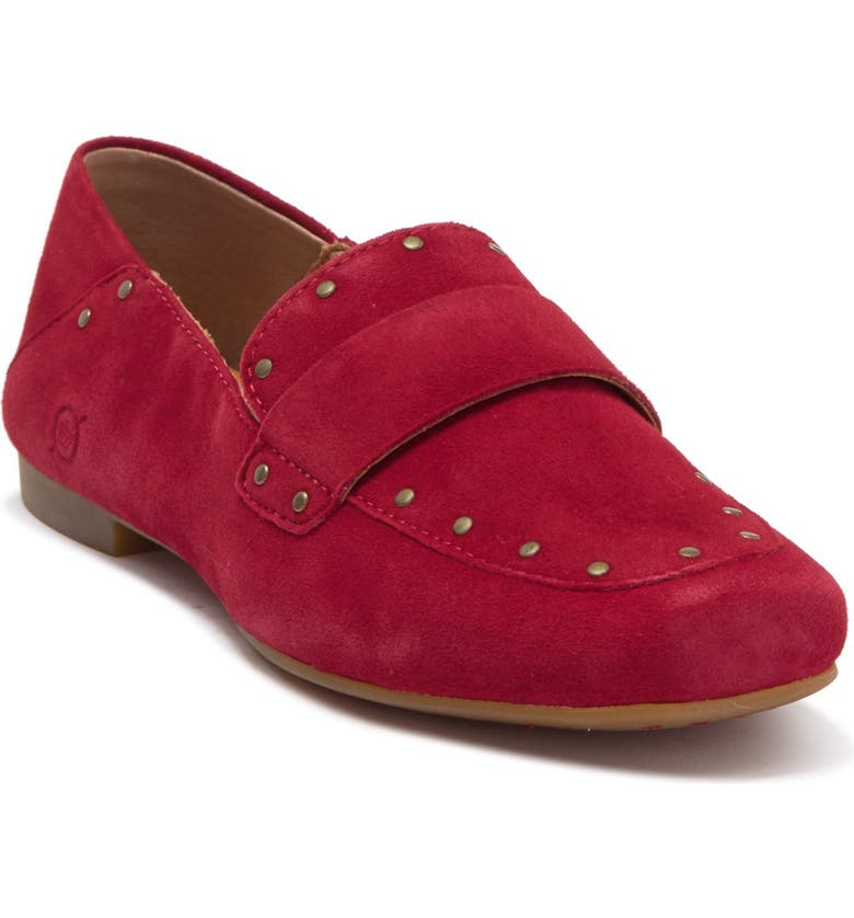BORN Ballo Suede Studded Loafer, Main, color, RED SUEDE