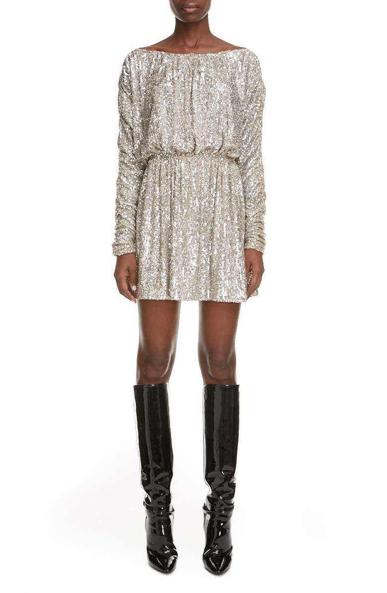SAINT LAURENT Sequin Long Sleeve Minidress, Main, color, 900