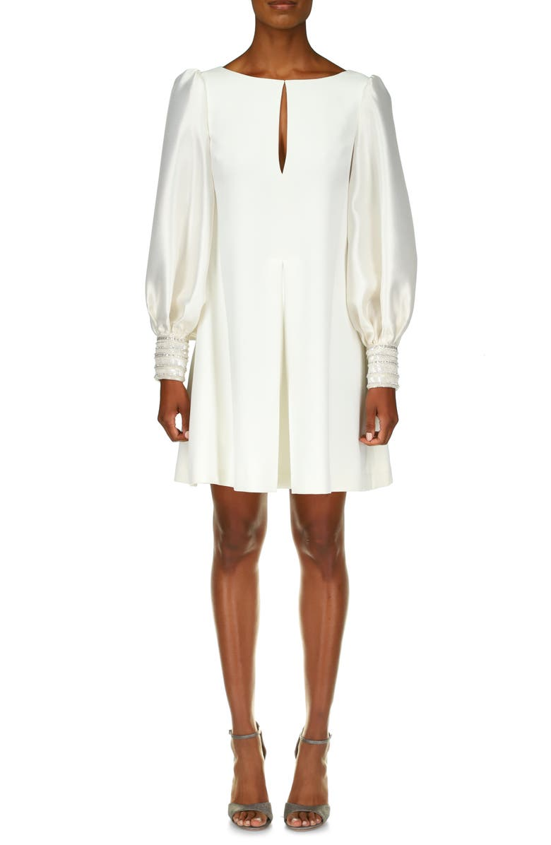 BADGLEY MISCHKA COLLECTION Long Sleeve Embroidered Cuff Mikado Shift Dress, Main, color, LIGHT IVORY