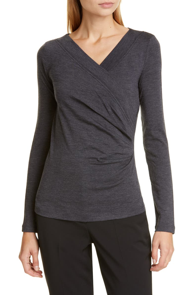 MAX MARA Tamaro Stretch Wool Faux Wrap Top, Main, color, 020