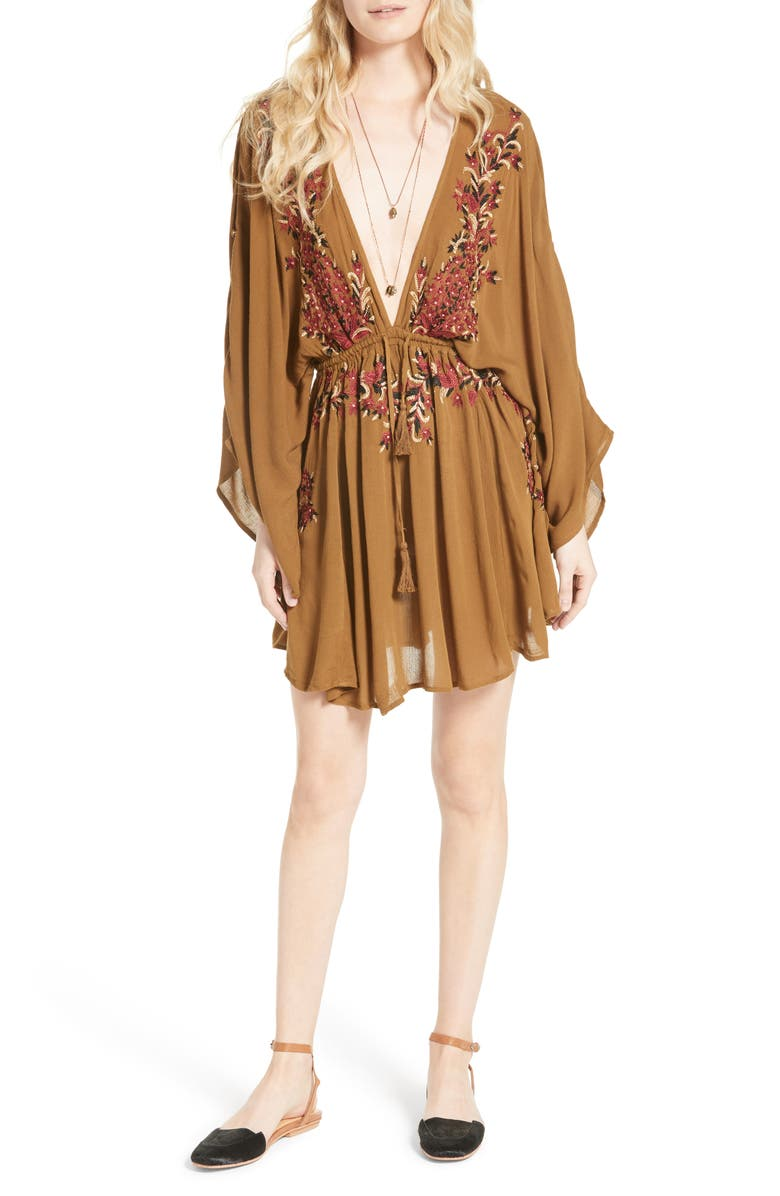 FREE PEOPLE Pretty Pineapple Embroidered Minidress, Main, color, 200