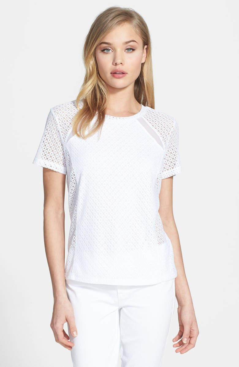 CHELSEA28 Mesh Inset Lace Tee, Main, color, 100