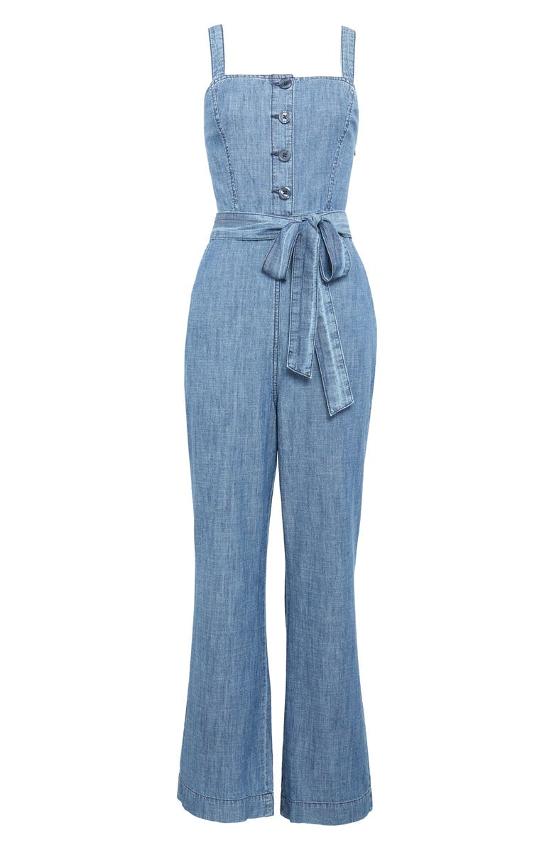 RACHEL PARCELL Sleeveless Chambray Jumpsuit, Main, color, 420