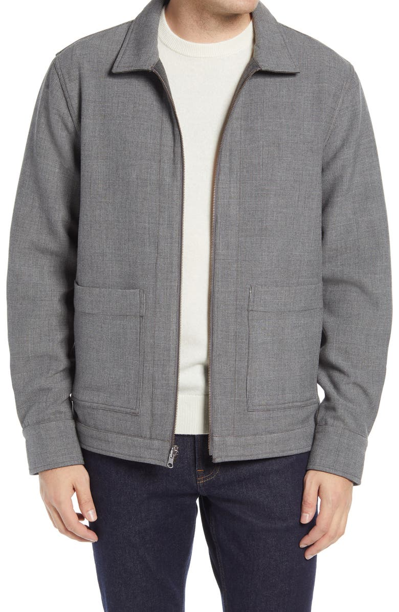 NORDSTROM Stretch Reversible Bomber Jacket, Main, color, GREY GLEN PLAID