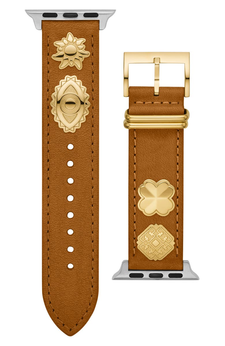 TORY BURCH Luggage Leather Band for Apple<sup>®</sup> Watch, 38mm/40mm, Main, color, LUGGAGE