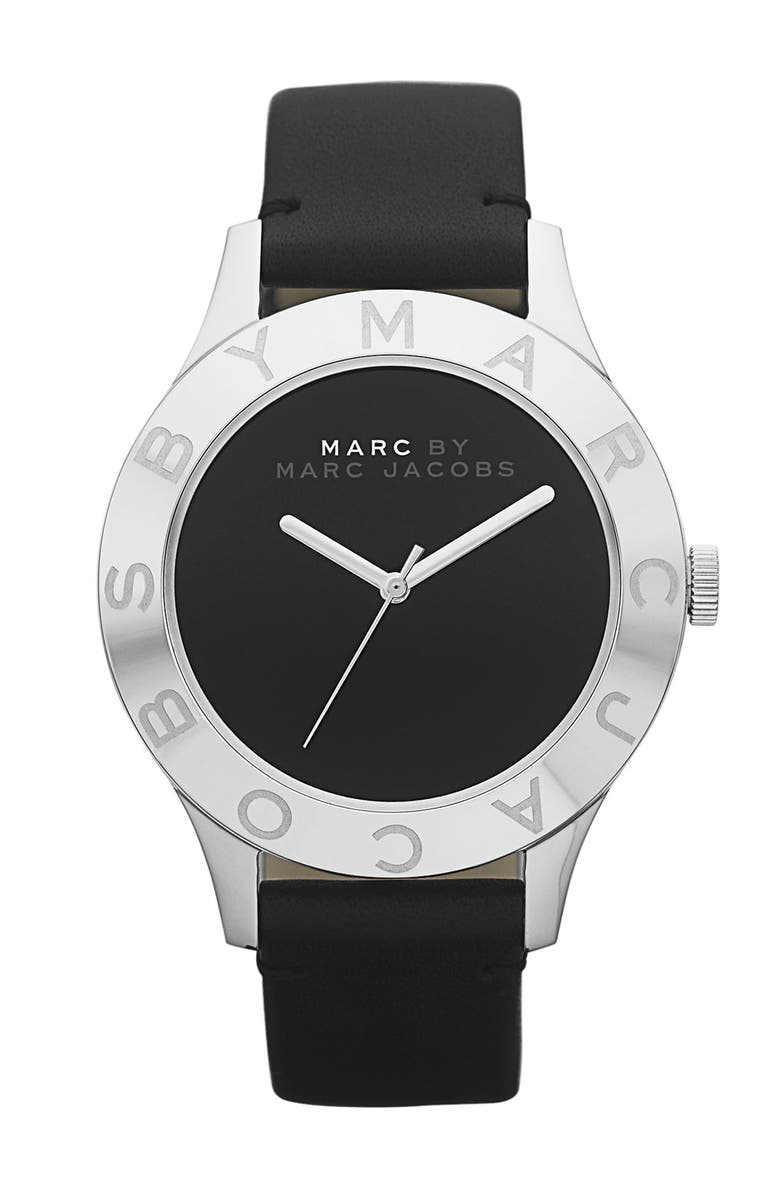 MARC JACOBS 'Blade' Round Leather Strap Watch, Main, color, 001
