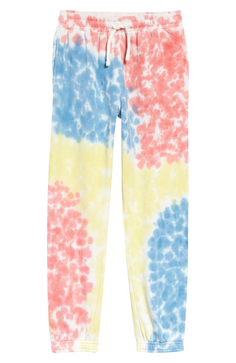 TREASURE & BOND Kids' Old School Tie Dye Joggers, Main, color, BLUE LAKE- PINK TIE DYE