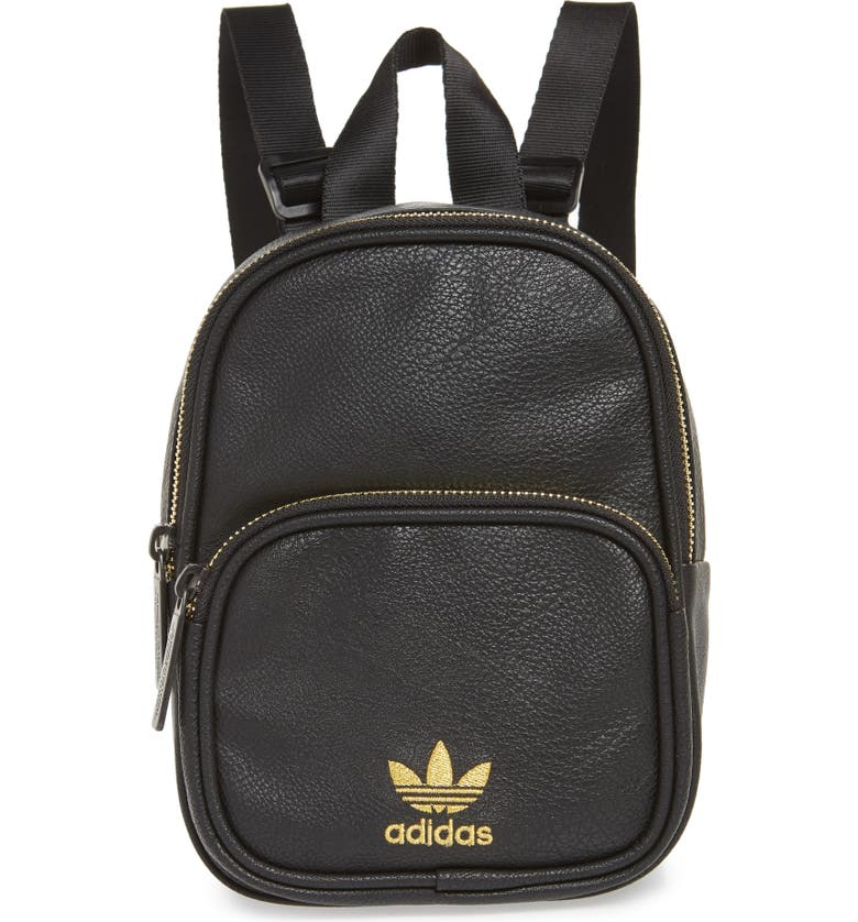 ADIDAS ORIGINALS Mini Faux Leather Backpack, Main, color, 001
