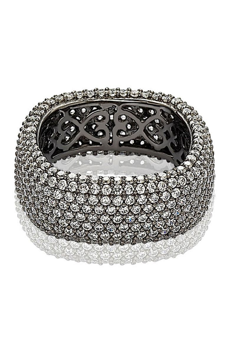 SUZY LEVIAN Blackened Sterling Silver Square White CZ Eternity Band Ring, Main, color, MIDNIGHT