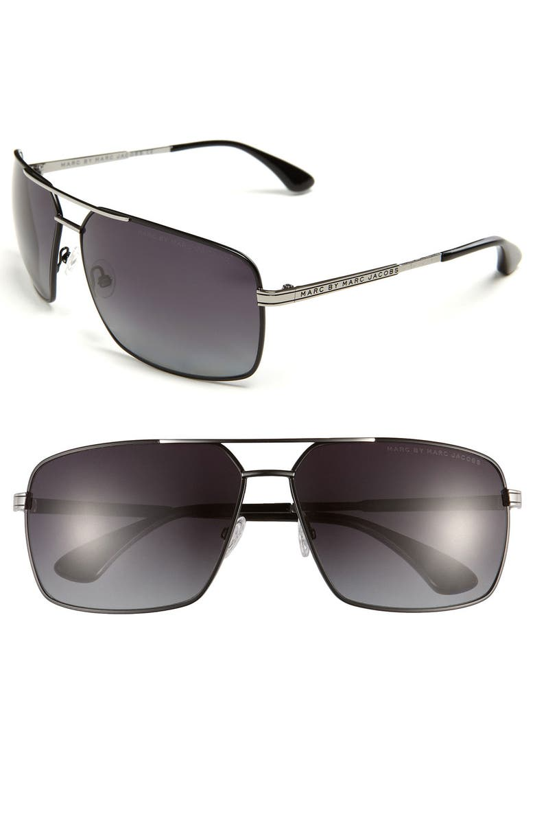 MARC BY MARC JACOBS Polarized Aviator Sunglasses, Main, color, 001