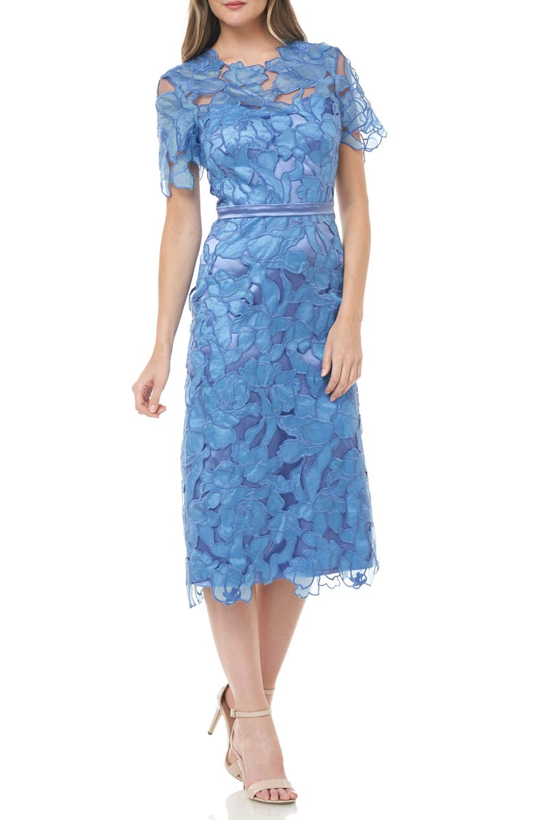 JS COLLECTIONS Souctach Lace Midi Dress, Main, color, FRENCH BLUE