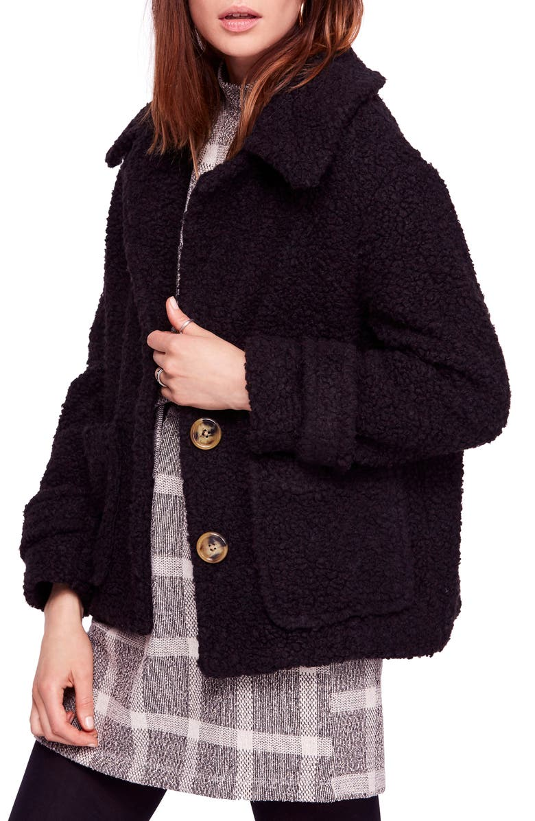 FREE PEOPLE So Soft Teddy Coat, Main, color, 001