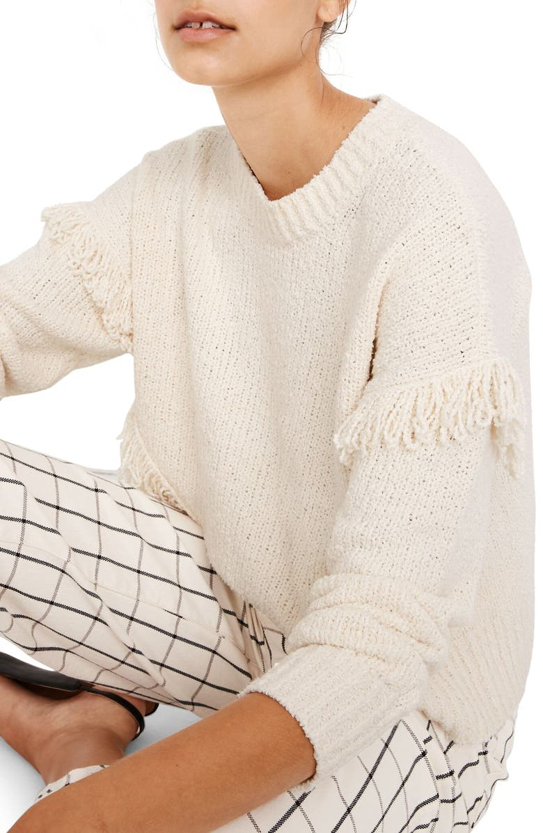 MADEWELL Montford Fringe Pullover Sweater, Main, color, PEARL IVORY