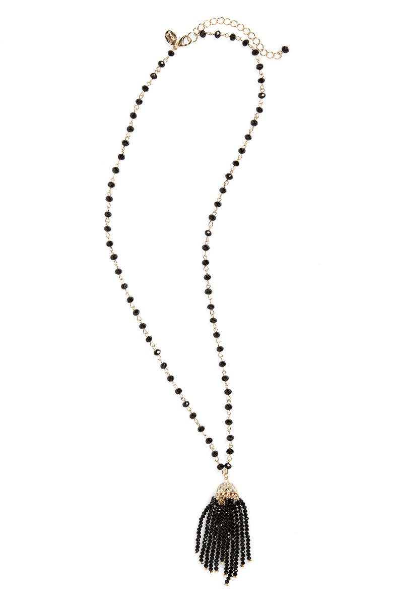 SPRING STREET Beaded Tassel Necklace, Main, color, 001