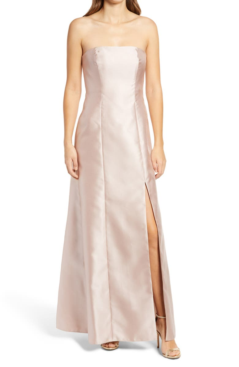 ALFRED SUNG Strapless Satin A-Line Gown, Main, color, CAMEO