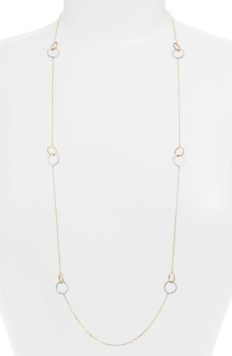 NORDSTROM Infinity Long Link Station Necklace, Main, color, CLEAR- GOLD- SILVER